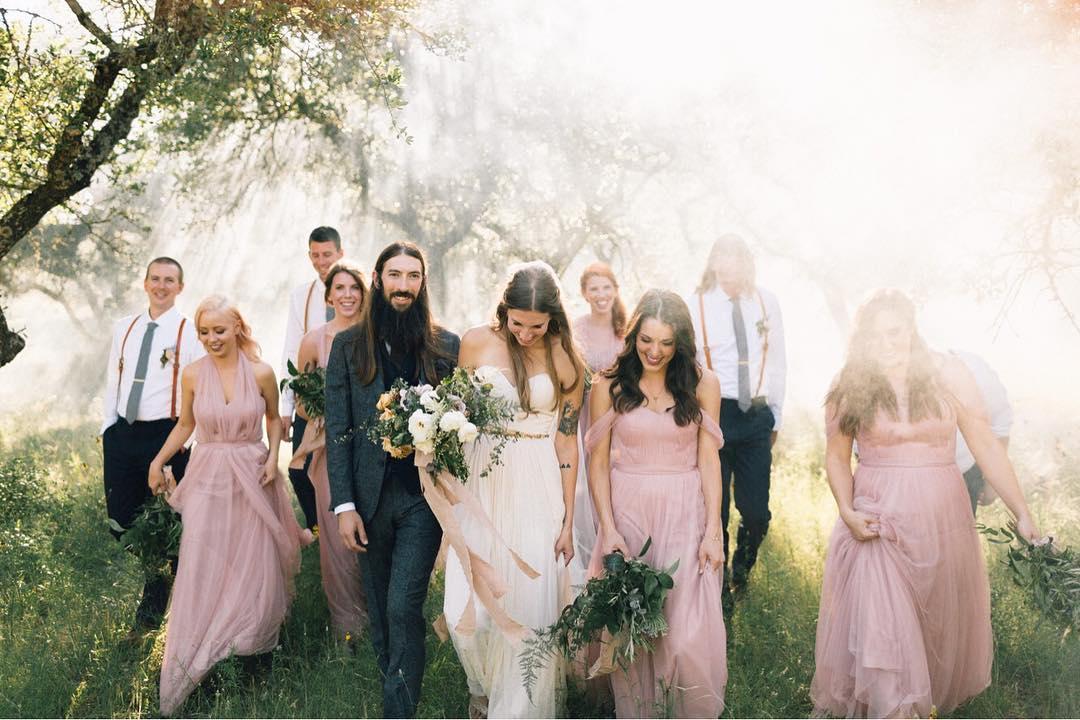 robes demoiselles d'honneur roses longues convertibles en tulle