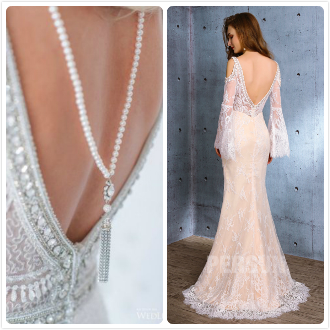 bijoux au dos perles & robe mariée sirène dos nu