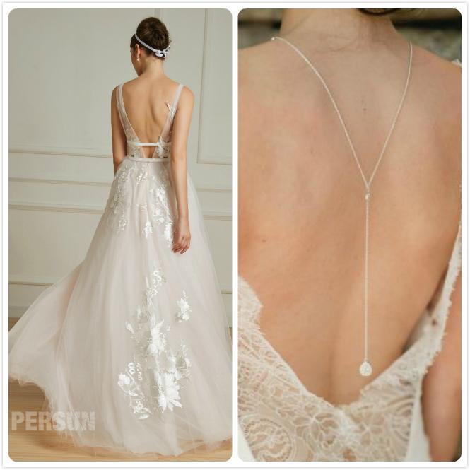 bijoux de mariage au dos pour robe mariée dos ouvert