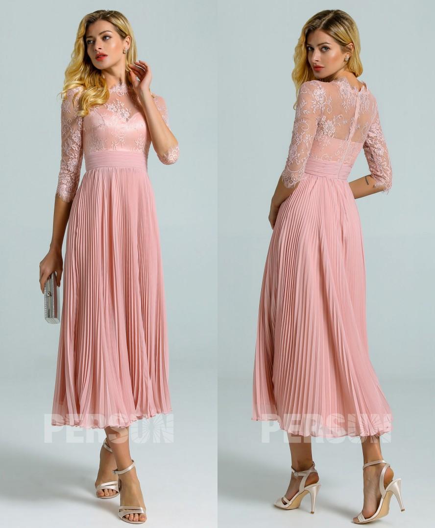 robe de cocktail midi vintage rose chair à jupe plissé manches courtes dentelle