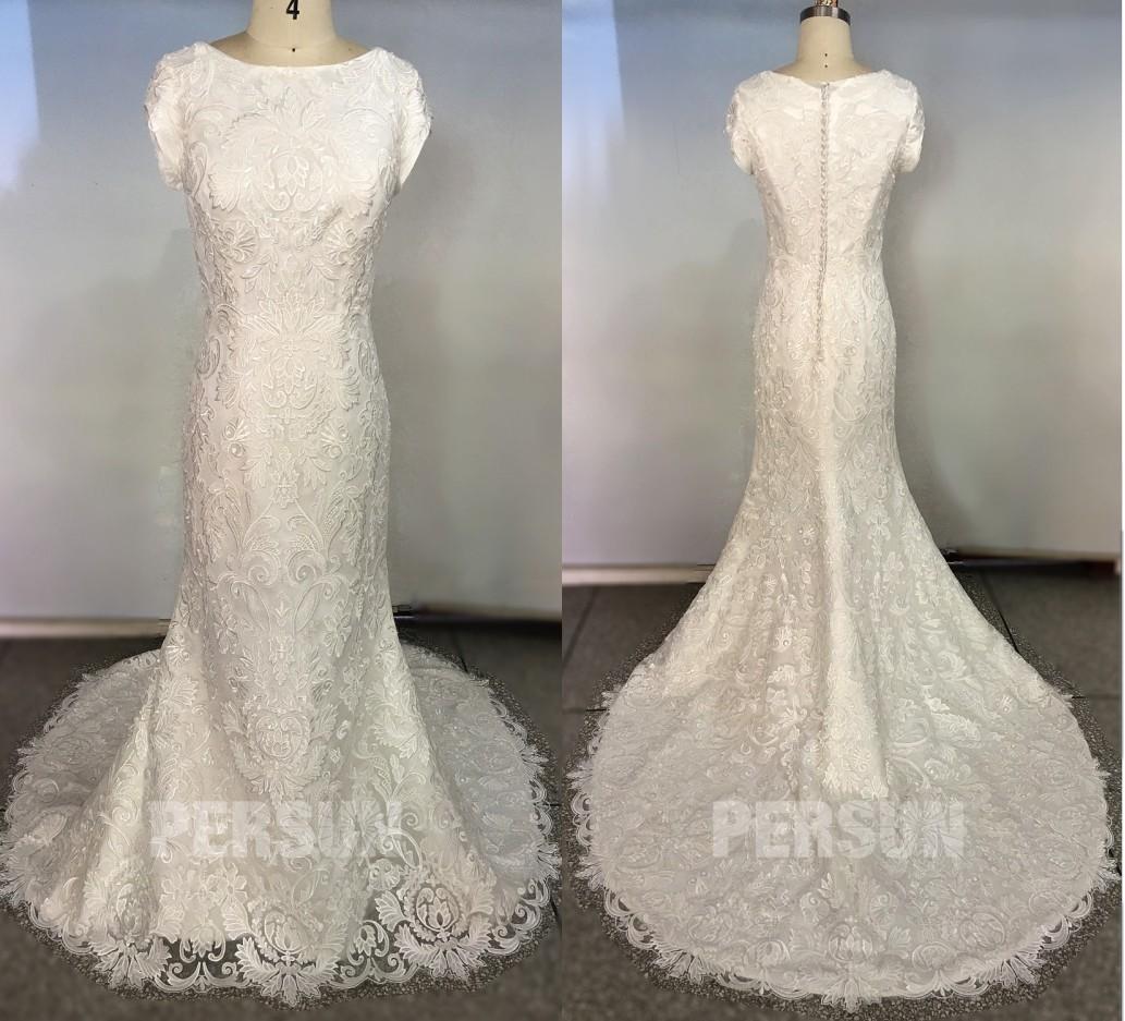 robe mariée sirène dentelle à col bateau avec manches